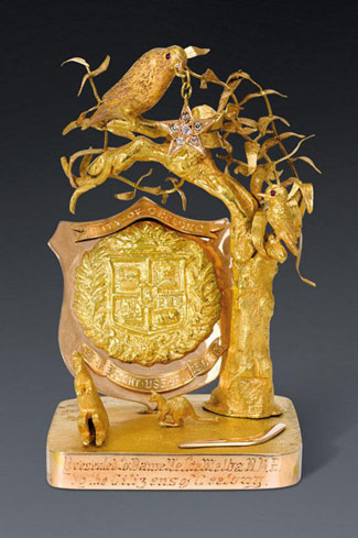 This gold presentation paperweight was presented to Dame Nellie Melba by the citizens of Geelong after a concert she had given in aid of Kitchener Memorial Hospital in 1922, which raised £7012 from ticket sales. Estimated at $40,000 to $50,000 it made $134,000 at the sale of 162 lots from Coombe Cottage, Dame Nellie's Melbourne home on March 31. It is among several lots sold to the Museum of Victoria so it will not be saying farewell to Melbourne, only to Lilydale, writes Terry Ingram.