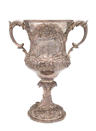 "The 1888 Coloured Champion of the World Boxing trophy – a Victorian sterling silver two-handled embossed trophy cup – will be auctioned from 10am Thursday April 23 by Mossgreen as part of its sporting memorabilia sale at 926-930 High Street, Armadale. The cup is engraved with the words ""Presented to Peter Jackson, Coloured, Champion Boxer of the World, at the Alhambra, Brighton, Eng, Monday Decr 2nd 1889, By a Few Admirers of His Sterling Qualities""."