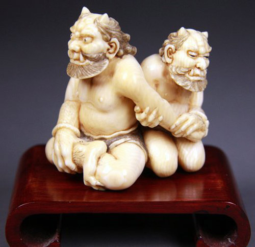 Erotic Japanese netsuke figurines, part of a contentious indecency court case in the 1980s, will be auctioned from noon Sunday May 17 by Philips Auctions at 47 Glenferrie Road, Toorak. The figures belonged to the late Bonnie Knight, who died recently aged 84, and are being sold by the family as part of her collection.