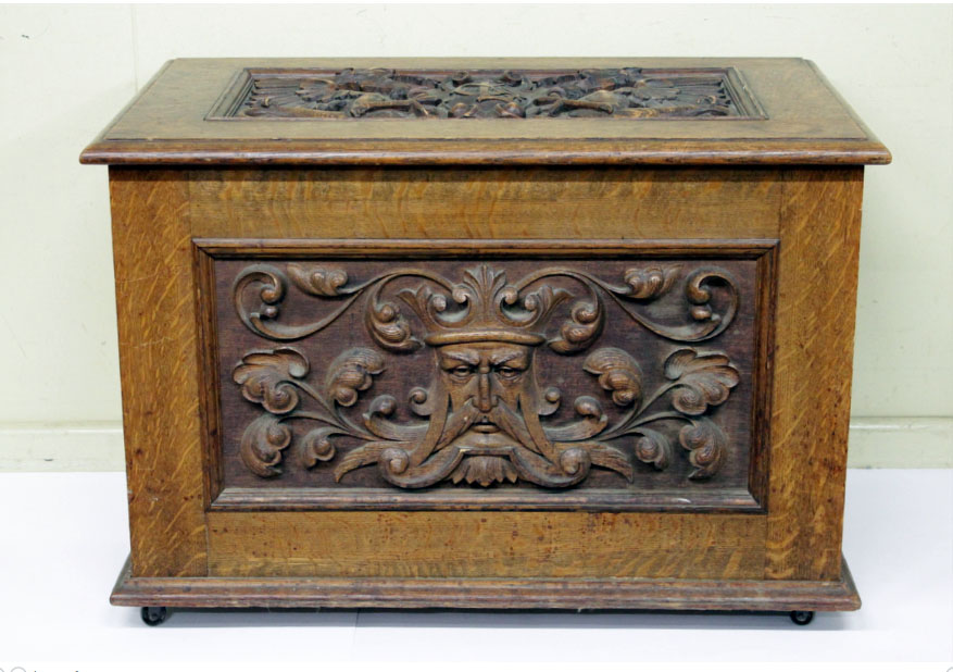 Young's Auctions in Melbourne will auction the part contents of Glenormiston Homestead at Terang in the Corangamite Shire built in the 1850s, at their special sale on Friday August 7, including a carved box (above) and shelves by Prenzel and furniture by Rojo and Buckley and Nunn.