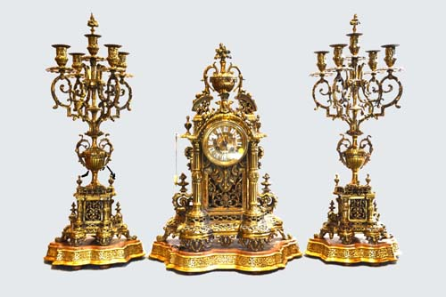 Kim's Auctions will sell a 50-year-old collection built up by one of Melbourne's leading businessmen will be auctioned on site on Sunday 11 October, 2015 at 46 Monomeath Avenue, Canterbury, (Melbourne). It includes a superb French bronze and gilt clock garniture by Pierre Alexandre Schoenewerk (1820-1885) – a French sculptor who was a student of the famous French sculptor and medallist David d'Angers (1788-1856) and in 1873 was named a Chevalier of the French legion of Honour.