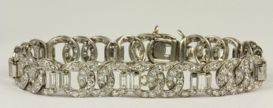 An art deco diamond bracelet (above), earrings and brooch in platinum are some of the more intriguing items at Philips Auctions forthcoming jewellery sale.