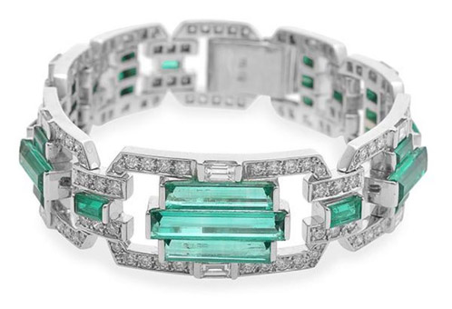 The resurgence of buyer interest in emerald jewellery will be tested when Leonard Joel holds its forthcoming jewels auction from 6pm Monday November 30 at 333 Malvern Road, South Yarra. Joel's confidence is reflected by featuring an art deco style Colombian emerald and diamond bracelet (above) and a .99-carat Colombian emerald and diamond ring and a Colombian emerald and diamond suite comprising, ring, earrings and pendant.