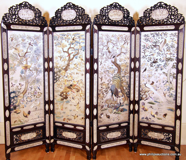 Catalogued as lot 88, an exceptional mid-19th century rosewood, ivory and silk Cantonese screen has a catalogue estimate of $20,000-$40,000. As has been proven at numerous sales of oriental items over the last few years, the estimate may bear little relation to the final price achieved.
