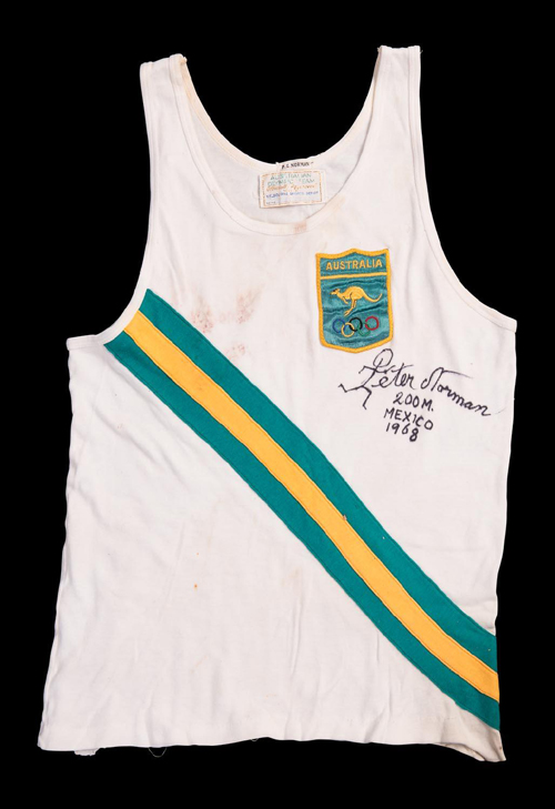 The National Museum of Australia purchased the historically significant running singlet worn by 200-metre Australian silver medallist Peter Norman at the 1968 Mexico Olympic Games for $48,800 (including buyer's premium) – against a presale estimate of $2500 - $3000 – at Mossgreen's Sporting Memorabilia auction on February 8.