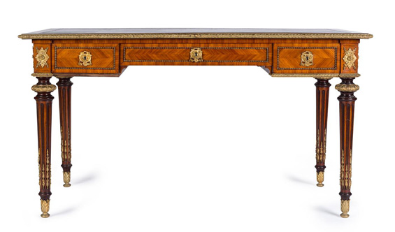 Included in Mossgreen's three-day international decorative arts sale from Sunday November 6 to Tuesday November 8 in Melbourne is a late 19th century Louis XVI style ormolu mounted kingwood bureau plat (above) by the famous London cabinetmaker Edwards & Roberts. The firm was founded in 1845 and by 1892 occupied more than a dozen buildings in Wardour Street, where they continued to operate until the end of the 19th century.