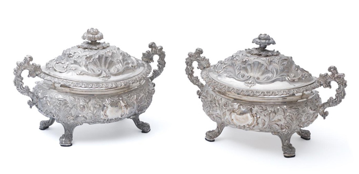Mossgreen's final sale for 2016 will be an onsite sale in Brisbane, in a cream brick veneer, but with furnishings to rival those seen in Buckingham Palace. The sale includes a pair of William IV sterling silver Rococo Revival soup tureens – fit for a queen - made in 1835 by Henry Wilkinson and Co in Sheffield, estimated at $12,000–18,000.