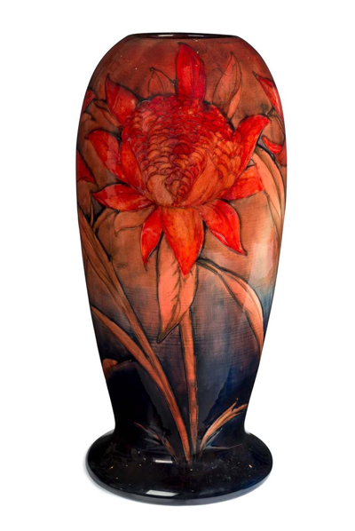 A William Moorcroft flambé Waratah exhibition vase dated 1939 adorns Mossgreen's catalogue front cover – signifying the forthcoming auction of Australian journalist and businessman Trevor Kennedy's massive decorative arts collection.