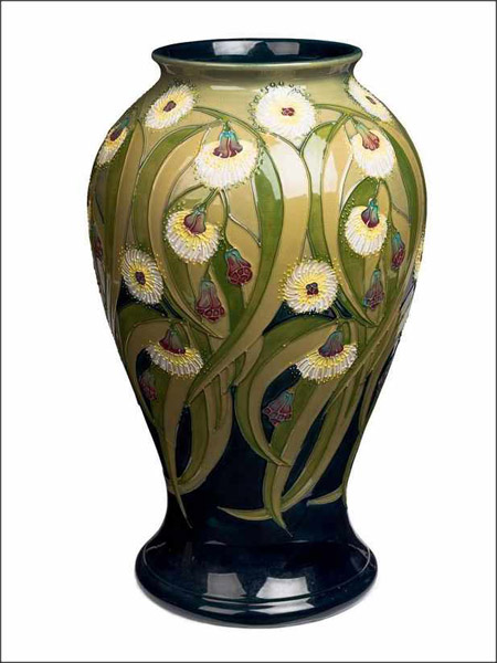 In the sale of Part 1 of the Trevor Kennedy Collection in Sydney on 21 February 2017 Moorcroft ceramic wares dominated, pre-sale accounting for 73% of the lots by value, based on the low estimates. Highest price was for a Moorcroft vase decorated in Tasmanian blue gum on a green ground 42 cm high which sold for $16,740 (IBP).
